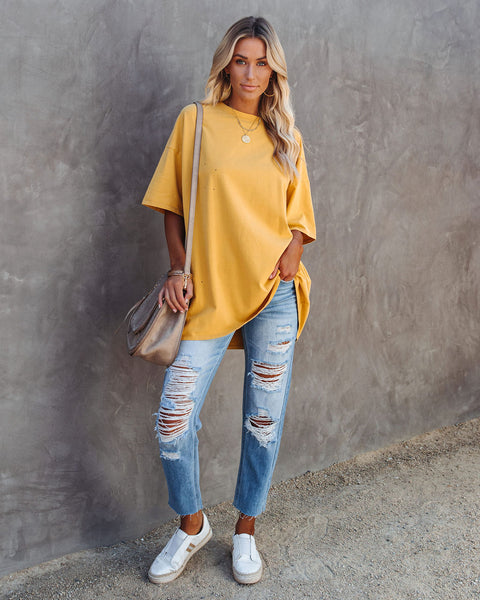 His Cotton Oversized Tee - Misted Yellow