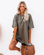 His Cotton Oversized Tee - Olive