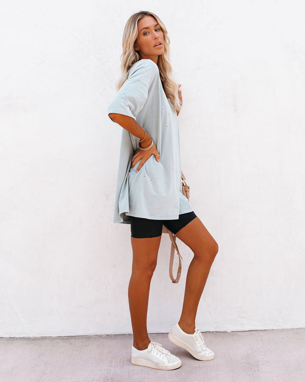 His Cotton Oversized Tee - Washed Blue