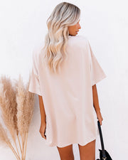 His Cotton Oversized Tee - Whisper Taupe view 2