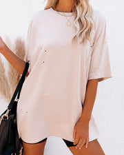 His Cotton Oversized Tee - Whisper Taupe view 5