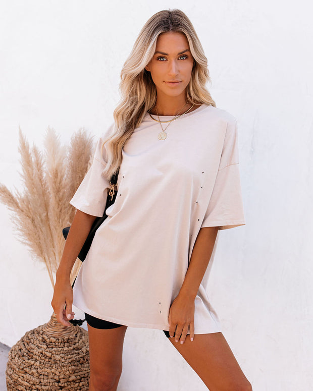 His Cotton Oversized Tee - Whisper Taupe view 9