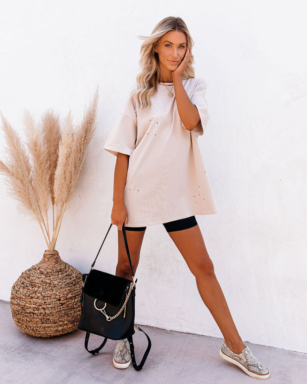 His Cotton Oversized Tee - Whisper Taupe view 11