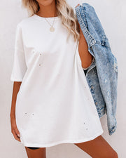 His Cotton Oversized Tee - White