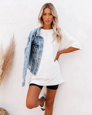 His Cotton Oversized Tee - White - FINAL SALE