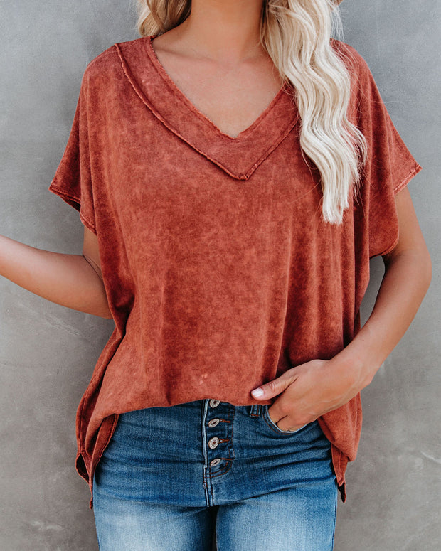 Hit Pause Cotton + Modal Mineral Wash Top - Cognac