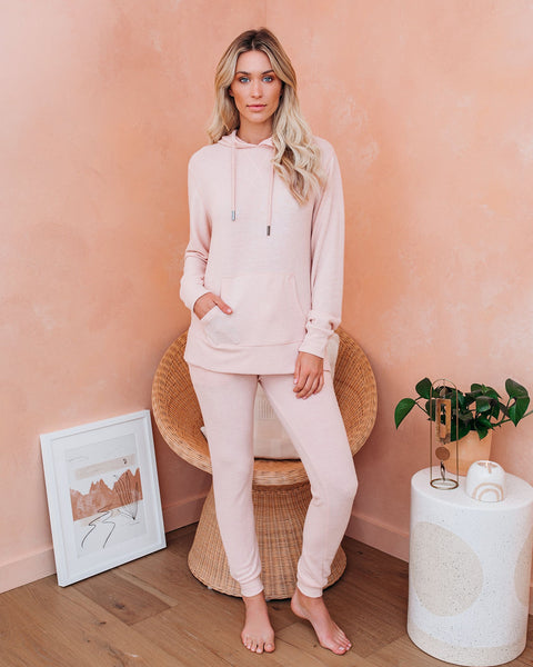 Hit Snooze Pocketed Knit Joggers - Pale Pink - FINAL SALE