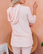 Hit Snooze Pocketed Knit Hoodie - Pale Pink