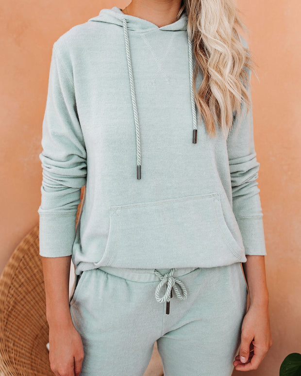 Hit Snooze Pocketed Knit Hoodie - Washed Sage