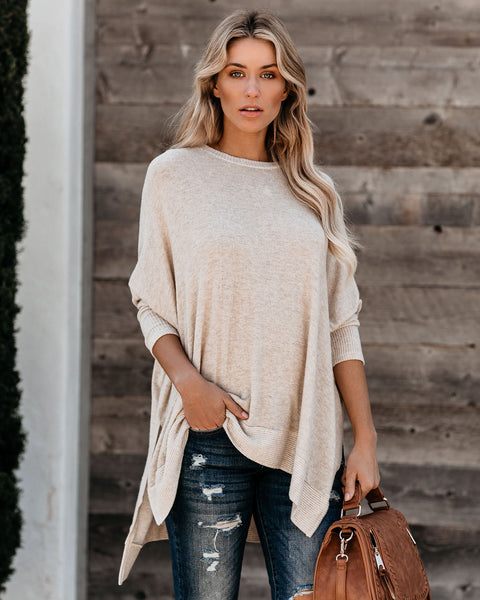 Hobby Relaxed Dolman Knit Top - Oatmeal - FINAL SALE