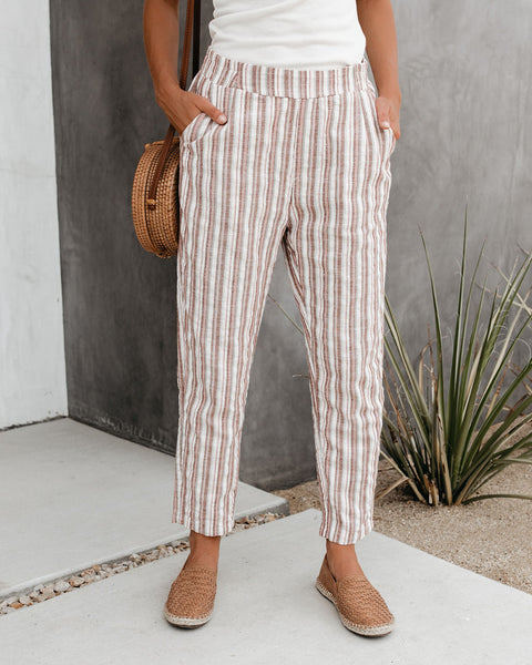 Hobson Striped Cotton Blend Pocketed Pants