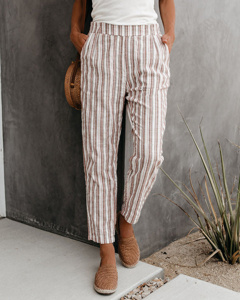 Hobson Striped Cotton Blend Pocketed Pants - FINAL SALE