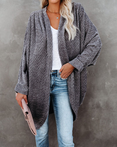 Holiday Spirit Chenille Pocketed Dolman Cardigan - Asphalt