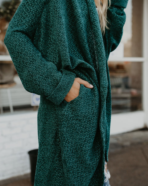 PREORDER - Holiday Spirit Chenille Pocketed Dolman Cardigan - Pine Tree