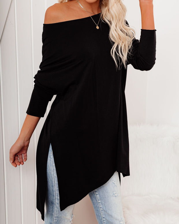 Holiday Weekend Cotton Long Sleeve Tunic - Black view 5