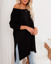 Holiday Weekend Cotton Long Sleeve Tunic - Black view 9