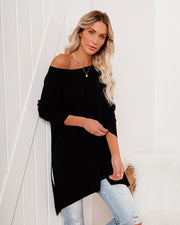 Holiday Weekend Cotton Long Sleeve Tunic - Black view 3