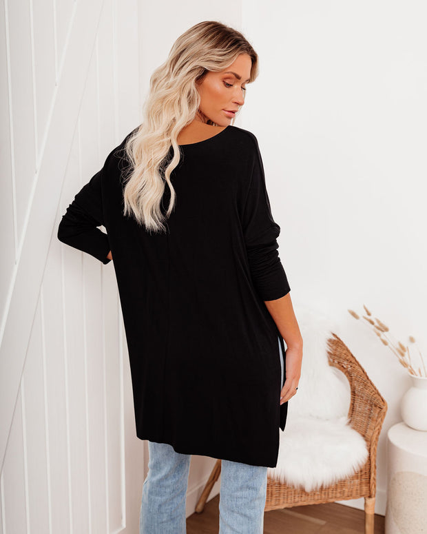 Holiday Weekend Cotton Long Sleeve Tunic - Black view 2