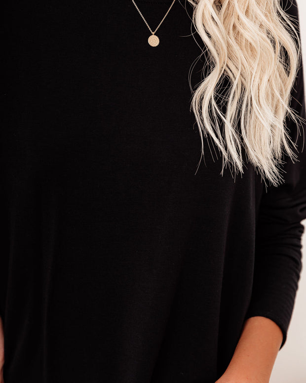 Holiday Weekend Cotton Long Sleeve Tunic - Black view 4