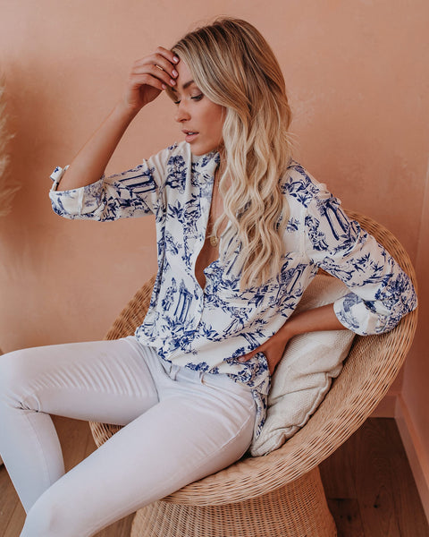 Hollis Printed Button Down Top
