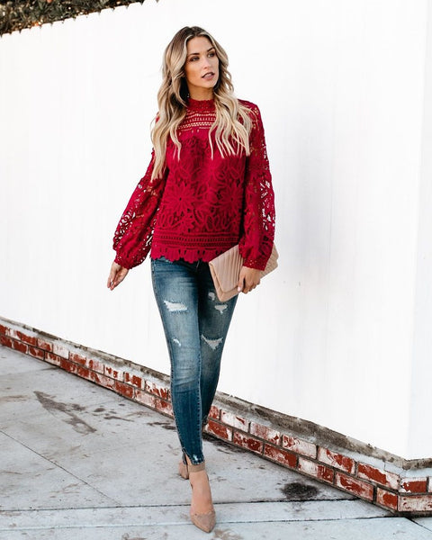 Holly Berry Crochet Blouse