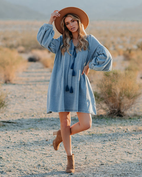 Holmes Pocketed Chambray Tassel Dress - FINAL SALE