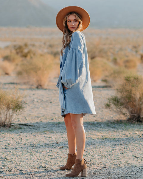 Holmes Pocketed Chambray Tassel Dress