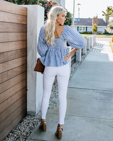 Home Sweet Home Gingham Cotton Blend Top - FINAL SALE