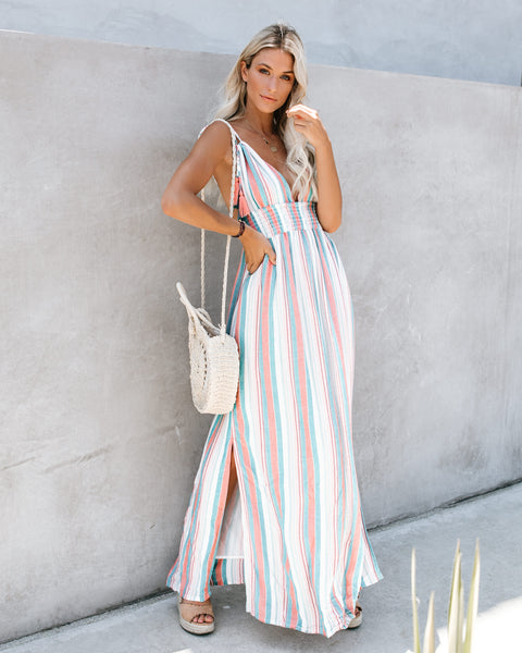 Honeydew Striped Tassel Tie Maxi Dress