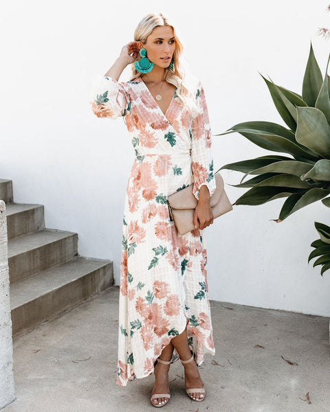 Honeysuckle Sweet Floral Wrap Dress - FINAL SALE