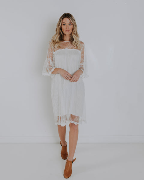 Hope Lace Dress - White - FINAL SALE