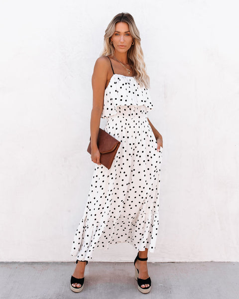Hopelessly Devoted Pocketed Polka Dot Midi Dress