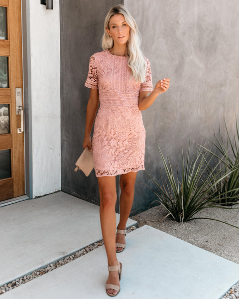 Hopeless Romantic Crochet Lace Dress - Rose - FINAL SALE