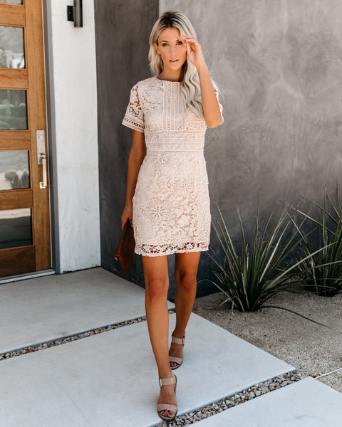 Hopeless Romantic Crochet Lace Dress - Taupe - FINAL SALE
