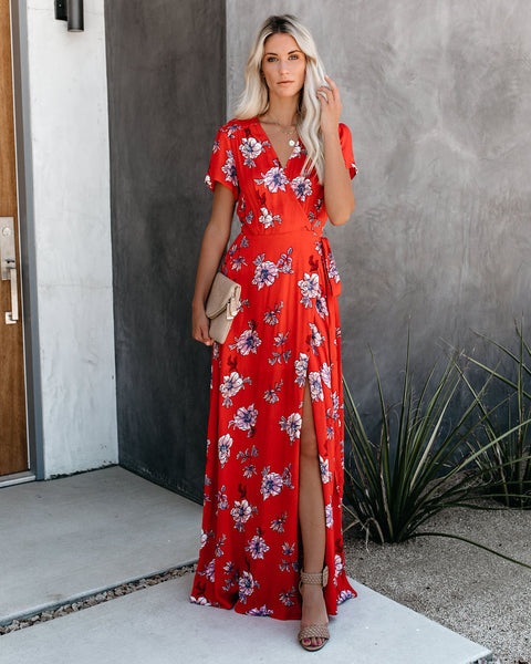 Hot In Here Floral Wrap Maxi Dress - FINAL SALE