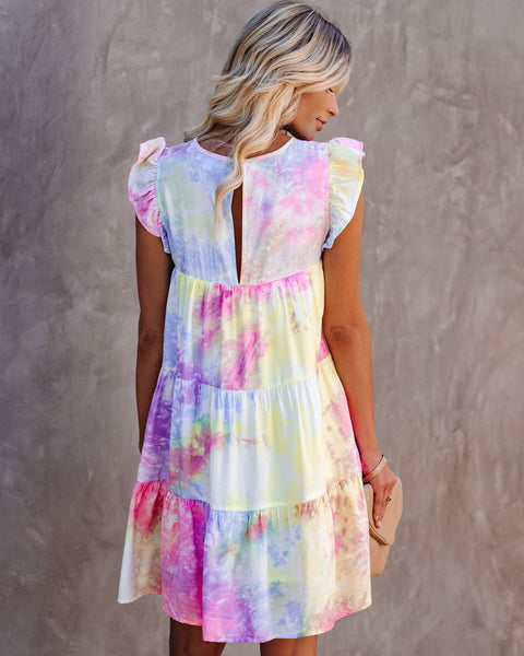 Hotshot Pocketed Tie Dye Tiered Babydoll Dress