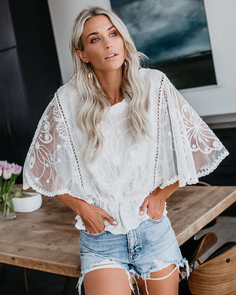 How Precious Lace Embroidered Top