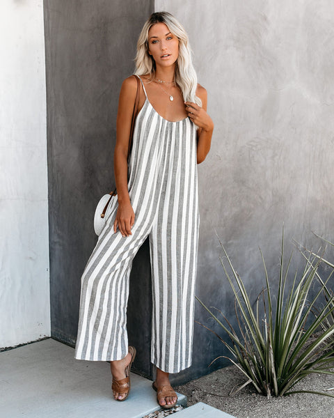 Hudson Yards Pocketed Striped Jumpsuit