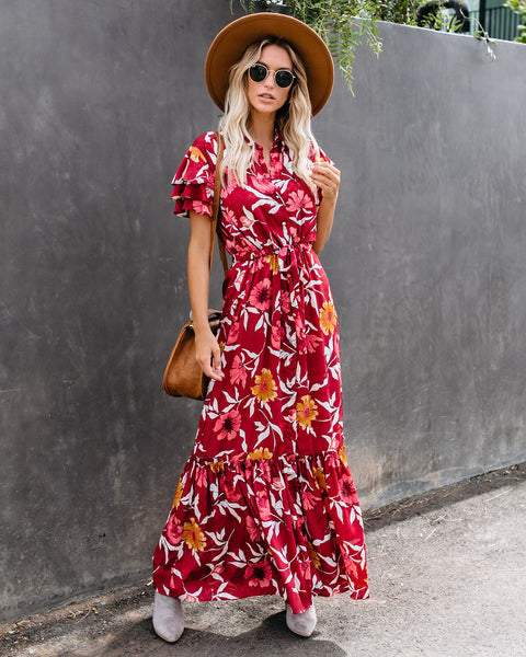 Hues Of Autumn Floral Button Down Maxi Dress
