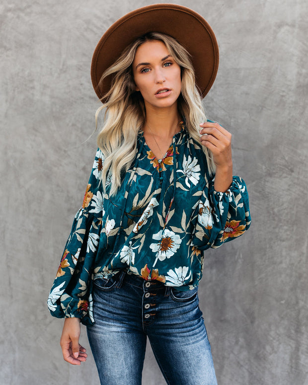 Hues Of Autumn Floral Lantern Sleeve Blouse - Teal - FINAL SALE