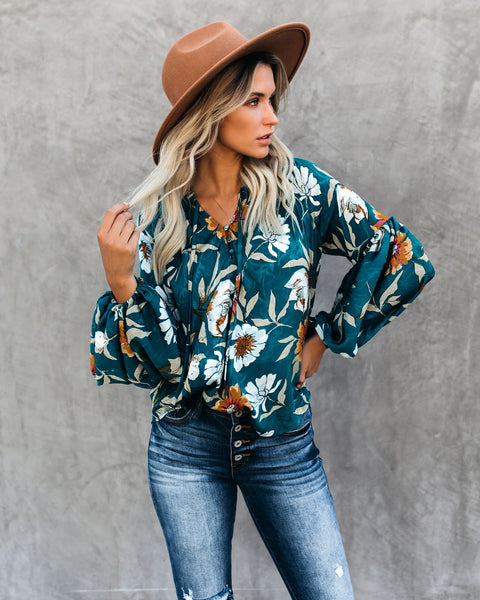 Hues Of Autumn Floral Lantern Sleeve Blouse - Teal