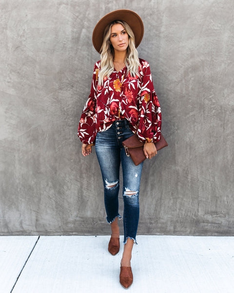 Hues Of Autumn Floral Lantern Sleeve Blouse - Wine