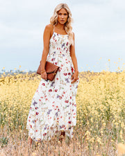Hulda Floral Smocked Asymm Maxi Dress view 5