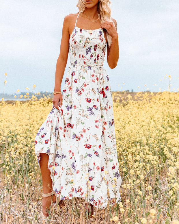 Hulda Floral Smocked Asymm Maxi Dress view 6