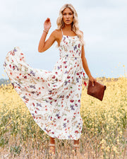 Hulda Floral Smocked Asymm Maxi Dress view 3