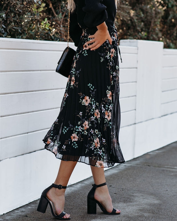 Hummingbirds Pleated Midi Skirt - FINAL SALE