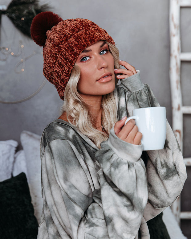 Hunter Chenille Pom Beanie - Rust