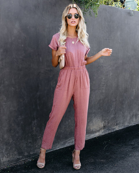 Idle Leopard Pocketed Jumpsuit - Marsala