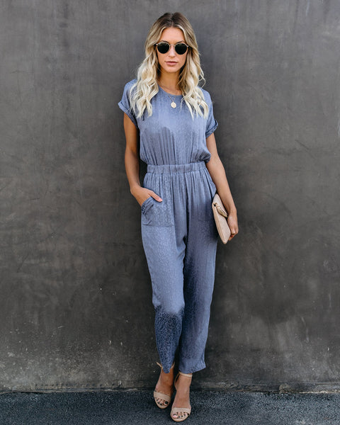 Idle Leopard Pocketed Jumpsuit - Slate Blue