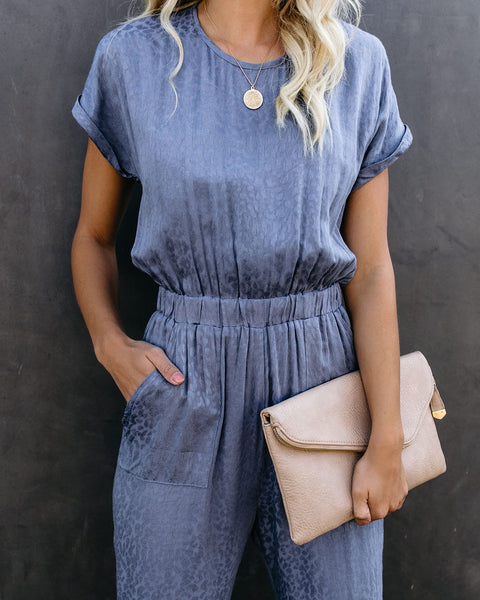 Idle Leopard Pocketed Jumpsuit - Slate Blue - FINAL SALE